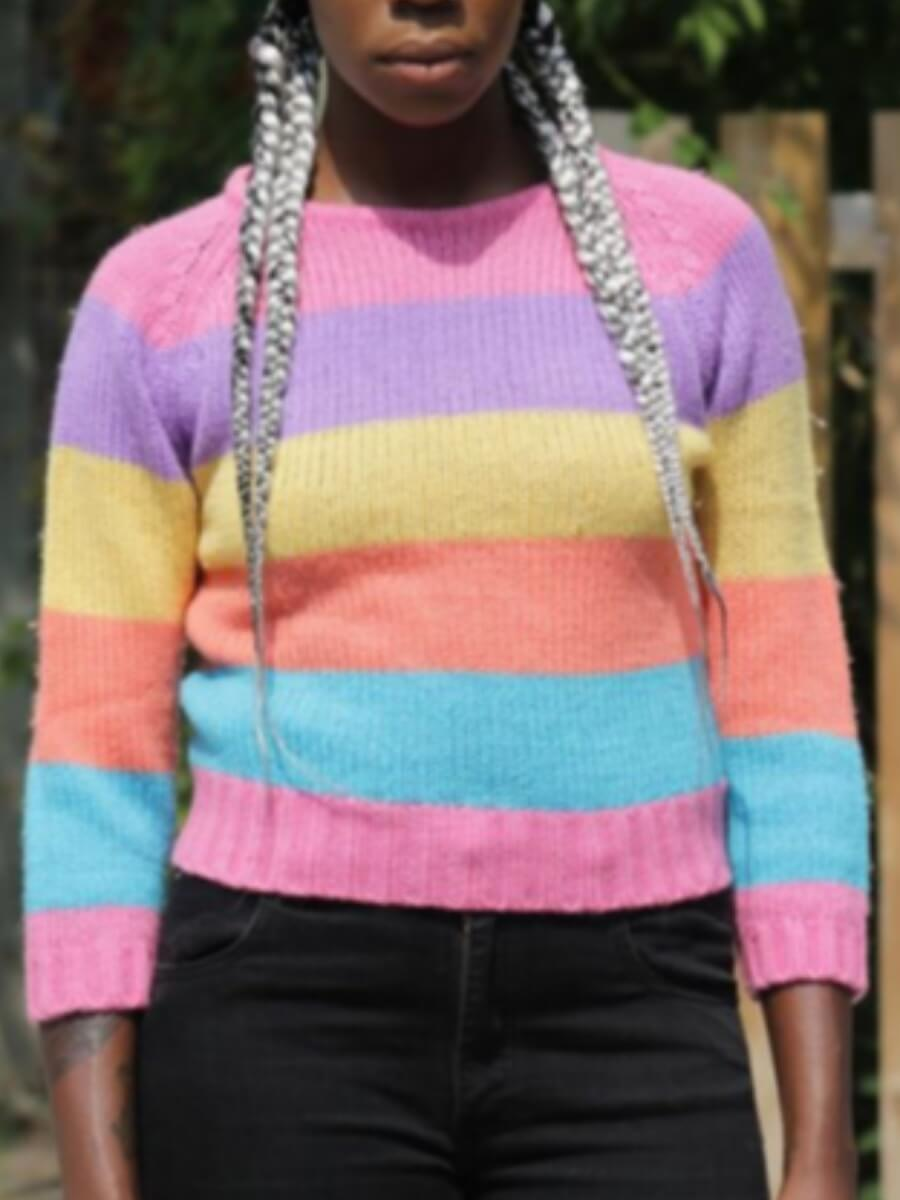 LW Lovely Stylish Rainbow Striped Multicolor Sweater