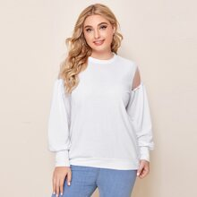 Sweatshirt mit Kontrast und Netzstoffaermeln