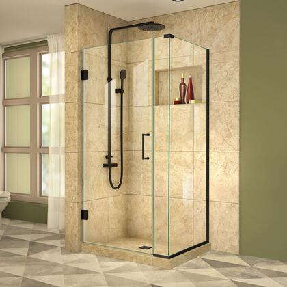 SHEN-24365340-09 Unidoor Plus 36 1/2 W X 34 3/8 D X 72 H Frameless Hinged Shower Enclosure  Clear Glass  In Satin