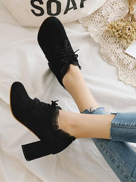 Milanoo Clasico Lolita Calzado Volantes Suede Chunky Tacon Lolita Zapatos