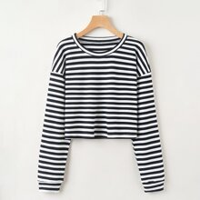 Striped Crop Sweatshirt