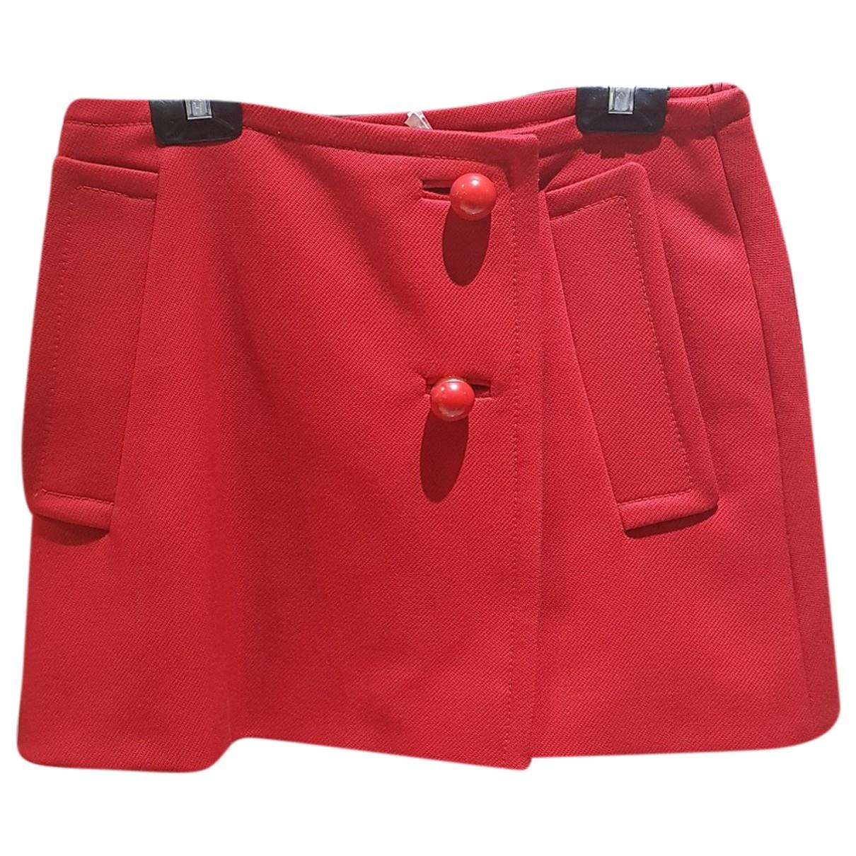 Prada N Red Wool skirt for Women 40 IT