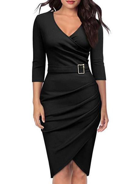 Milanoo Women Bodycon Dress V Neck Ruched Belt Wrap Shaping Midi Work Dress