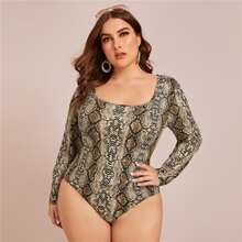 Plus Snakeskin Print Bodysuit