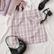 Zip Back Tartan Skirt