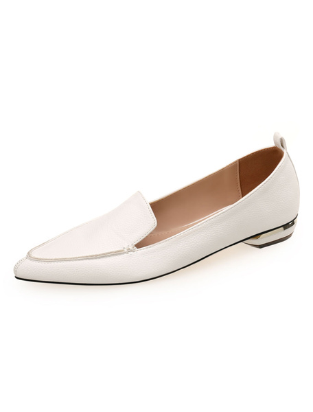 Milanoo White Women Flats Pointed Toe Slip On Shoes Casual Shoes