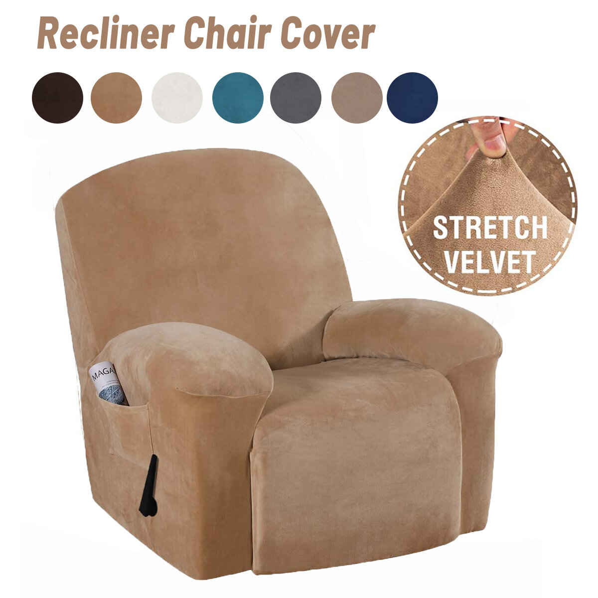 Velvet Soft Stretch Recliner Chair Cover Slipcover Full Coverage Protector With Pockets Dustproof Waterproo