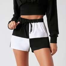 Shorts de color combinado de cintura con cordon