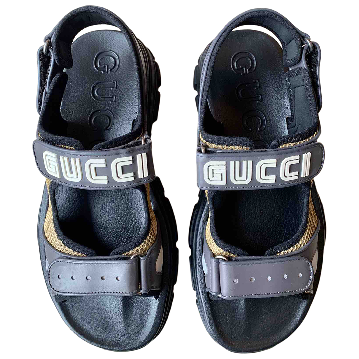 Gucci N Grey Leather Sandals for Men 9 UK