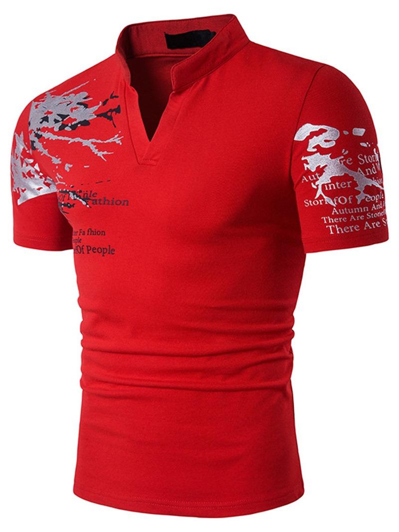Ericdress Stand Collar Short Sleeve Men's T-Shirt