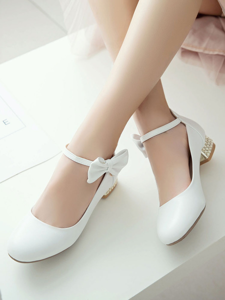Milanoo Classic Lolita Shoes Bow Pearl Ankle Strap Metallic Puppy Heel White Lolita Pump