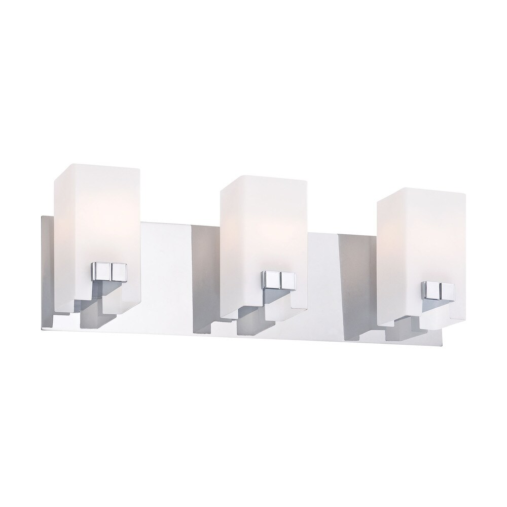 Alico Gemelo Chrome and White Opal Glass 3-light Vanity (White Opal)