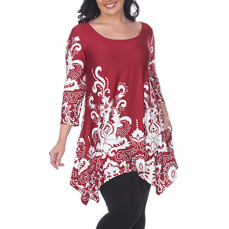White Mark-Plus Yanette Womens Scoop Neck 3/4 Sleeve Tunic Top, 6x , Red