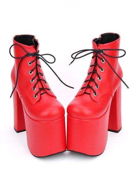 Milanoo Black Lolita Booties Chunky Heel Platform Round Toe Lace Up Lolita Short Boots