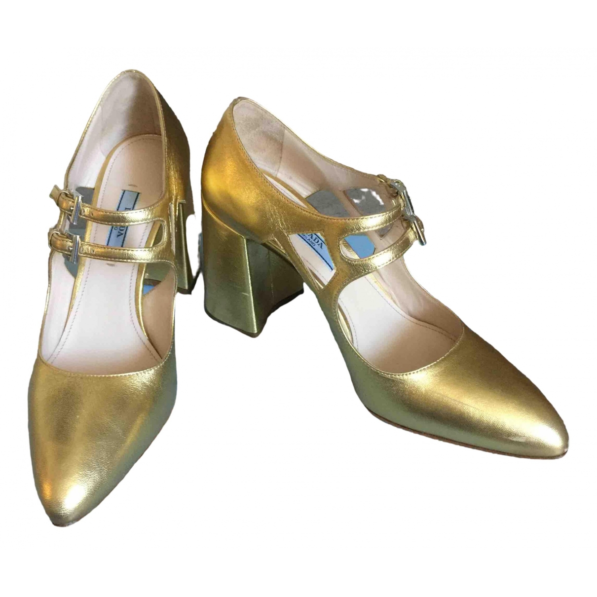 Prada Mary Jane Gold Leather Heels for Women 37 IT