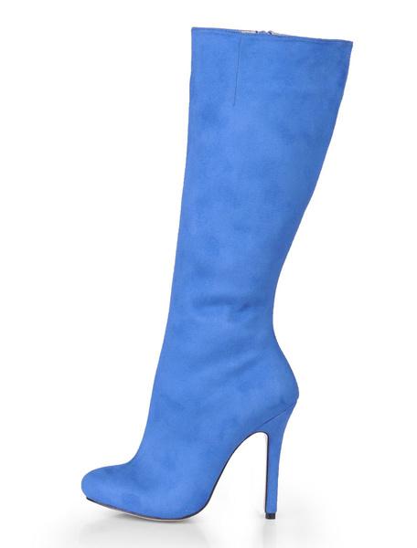 Milanoo Botas hasta la rodilla con pala de saten elastico de puntera de forma de almendra Azul celeste claro 12cm de tacon de stiletto con cremallera