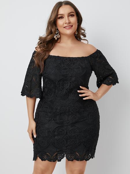 YOINS Plus Size Lace Off The Shoulder Half Sleeves Dress