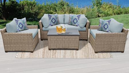 Monterey Collection MONTEREY-05b-SPA 5-Piece Patio Set 05b with 2 Corner Chair   1 Storage Coffee Table   2 Club Chair - Beige and Spa