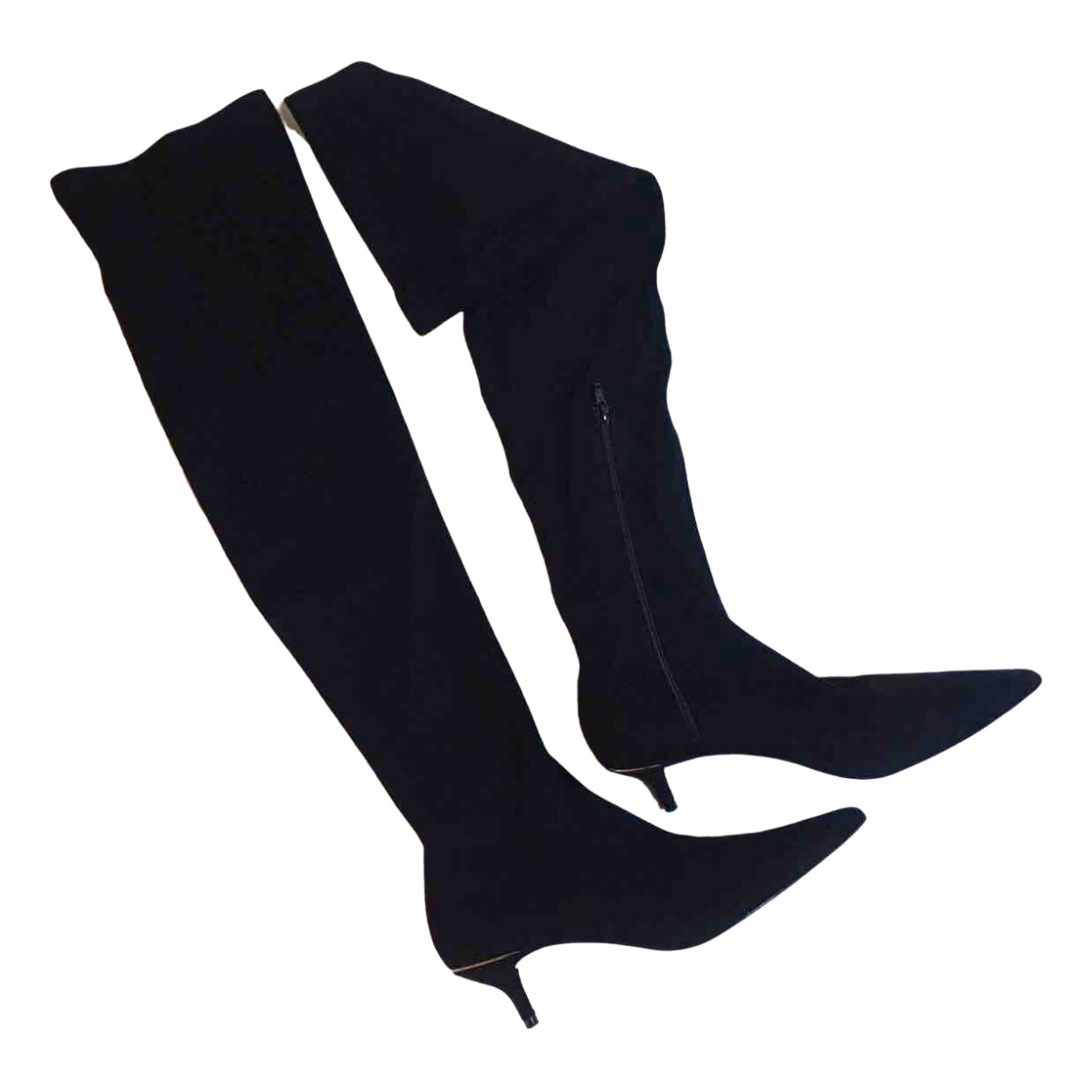 Zara \N Stiefel in  Schwarz Veloursleder