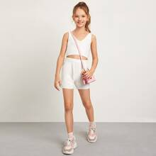 Girls Solid Fuzzy Crop Knit Top and Shorts Set
