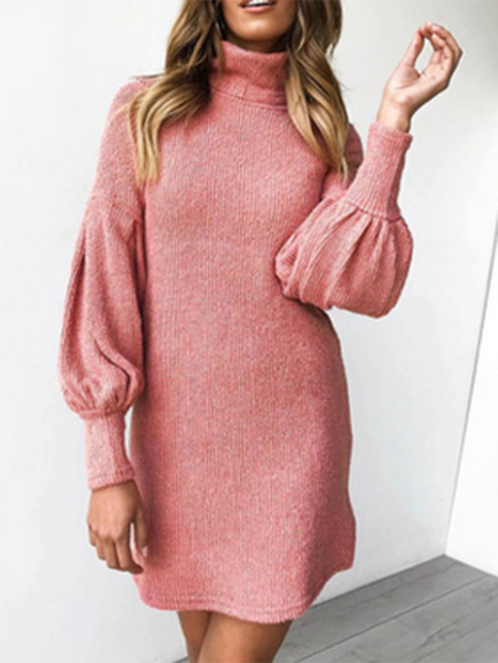 Yoins Pink Lantern Sleeves Super Stretch Knit Dress