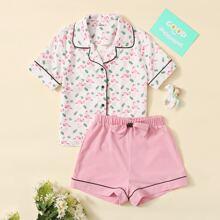Girls Contrast Binding Flamingo Blouse and Bow Detail Shorts PJ Set