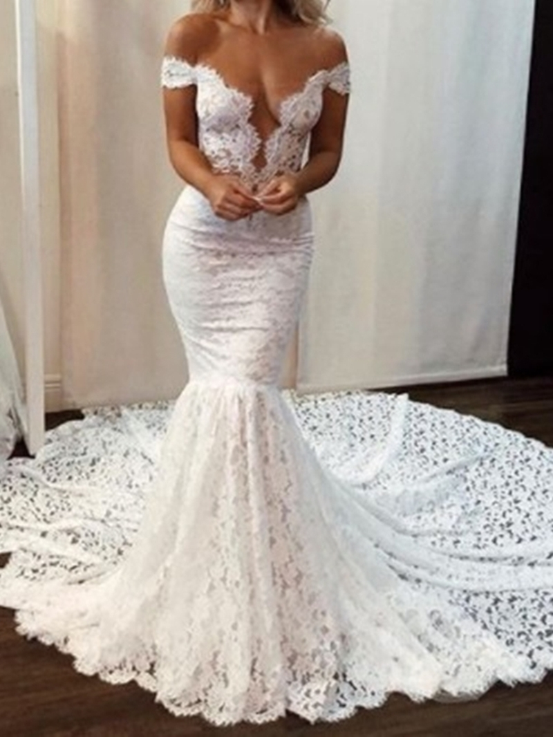 Ericdress Floor-Length Off-The-Shoulder Short Sleeves Wedding Dress 2020