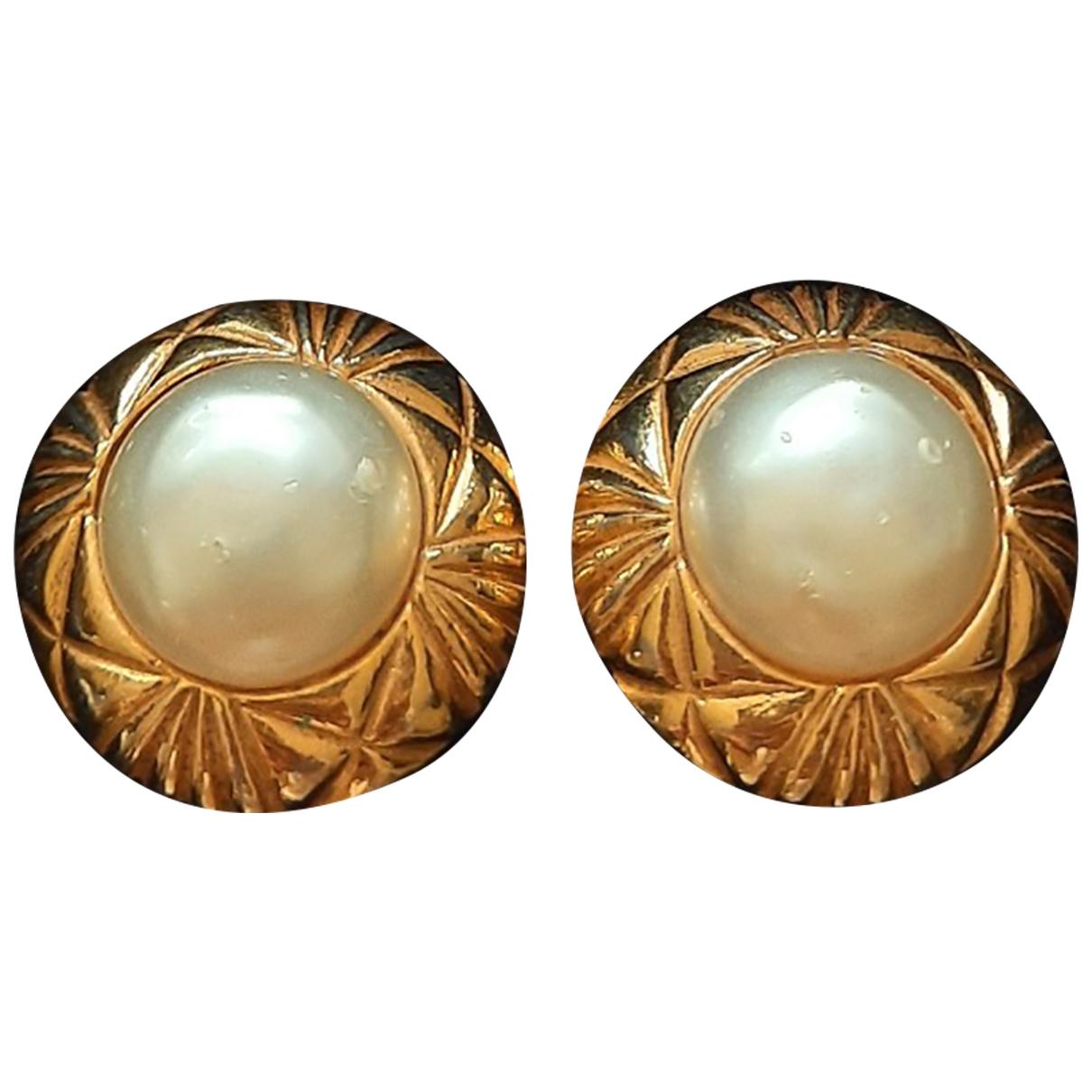 Chanel - Boucles doreilles   pour femme en perle - dore