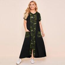 Kleid mit Reissverschluss, Kontrast und Camo Muster Einsatz