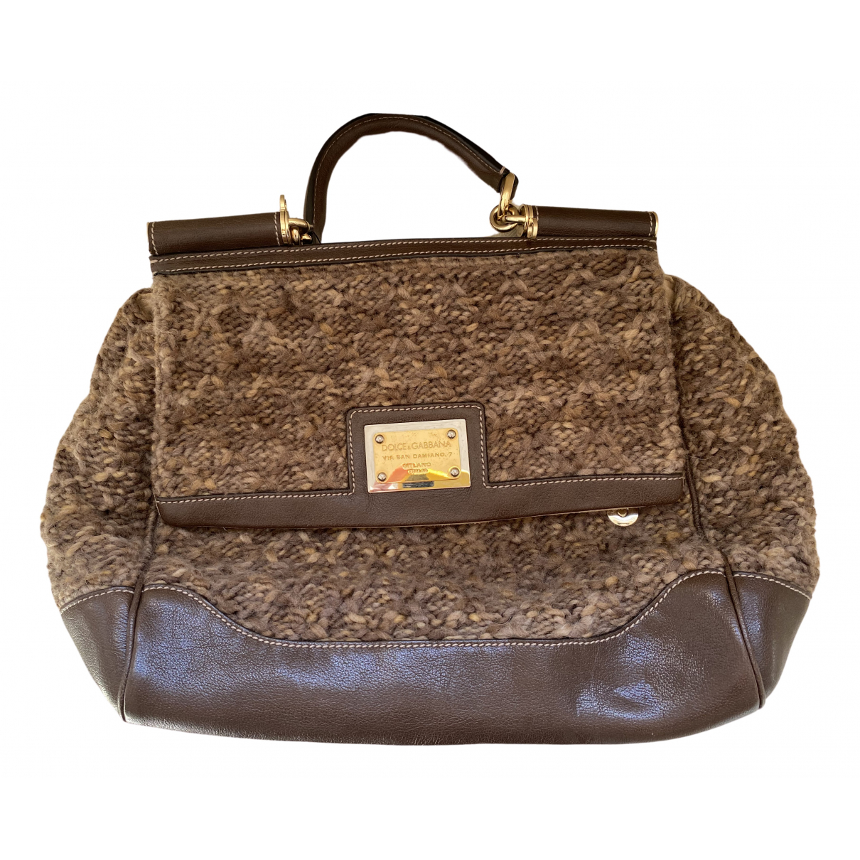Dolce & Gabbana Sicily Handtasche in  Braun Wolle