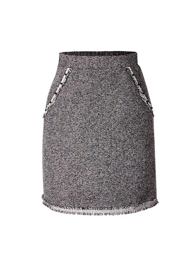 Ericdress Plus Size Plain Bodycon Casual High Waist Skirt