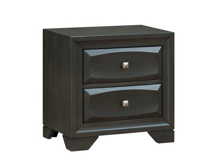 BM182983 Transitional Solid Wood Night Stand With Silver-Tone Knob Drawers  Antique