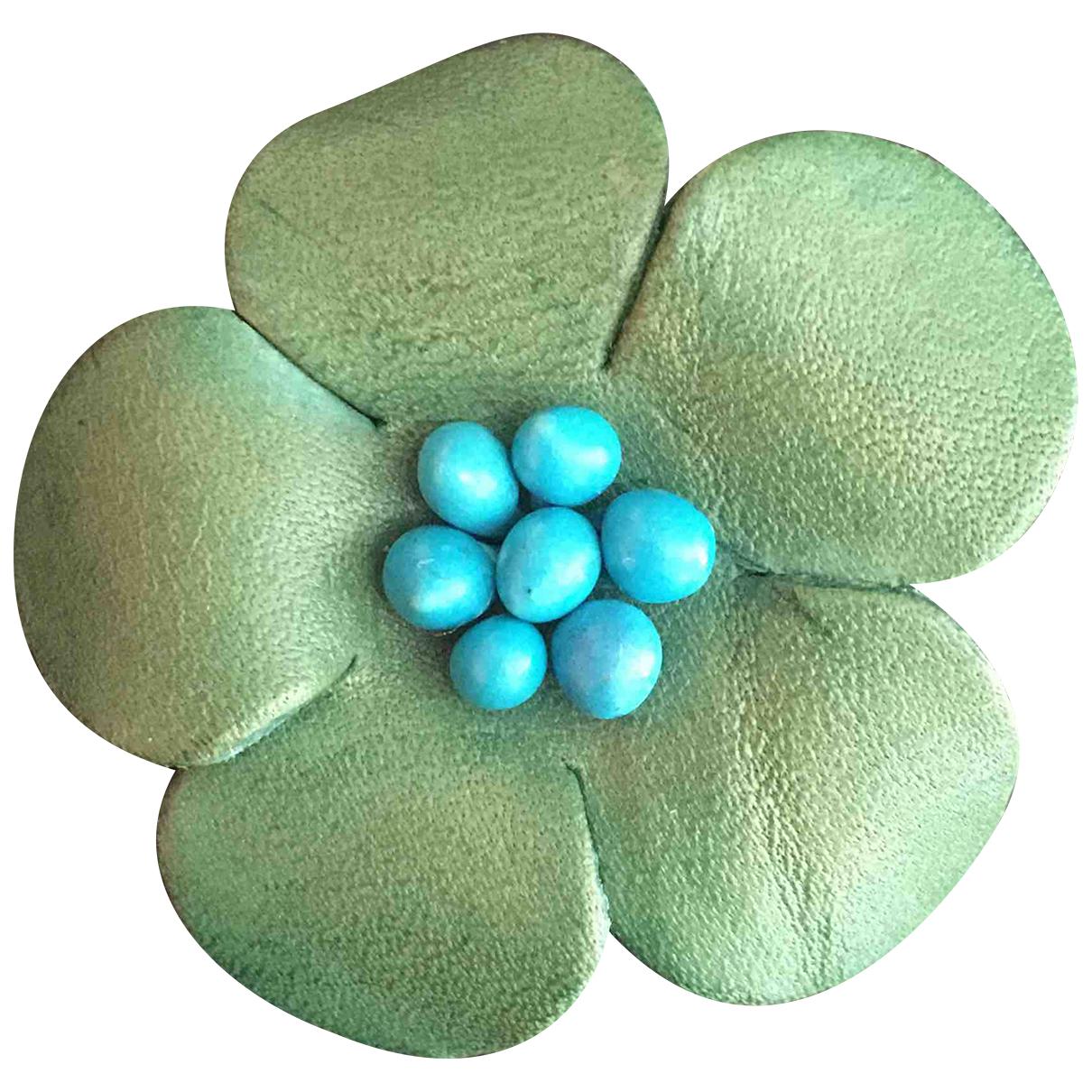 - Broche Motifs Floraux pour femme en cuir - multicolore