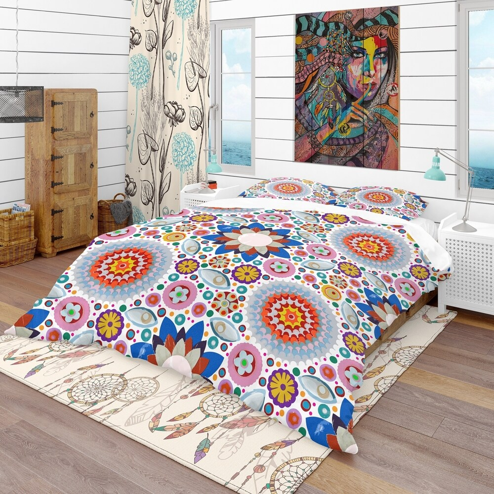 Designart 'Abstract Flowers Pattern' Bohemian & Eclectic Bedding Set - Duvet Cover & Shams (Twin Cover + 1 sham (comforter not included))