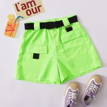 Girls Neon Lime Flap Pocket Front Push Buckle Belted Shorts