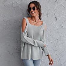 Schulterfreier einfarbiger Pullover