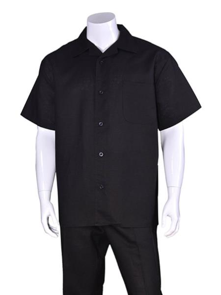 Mens Plain Black Short Sleeve Linen Casual Walking Suit With Pant