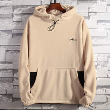 Men Letter Embroidery Colorblock Fleece Hoodie