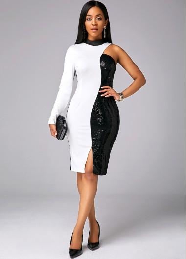 Wedding Guest Dress One Sleeve Sequin Color Block Dress - XL