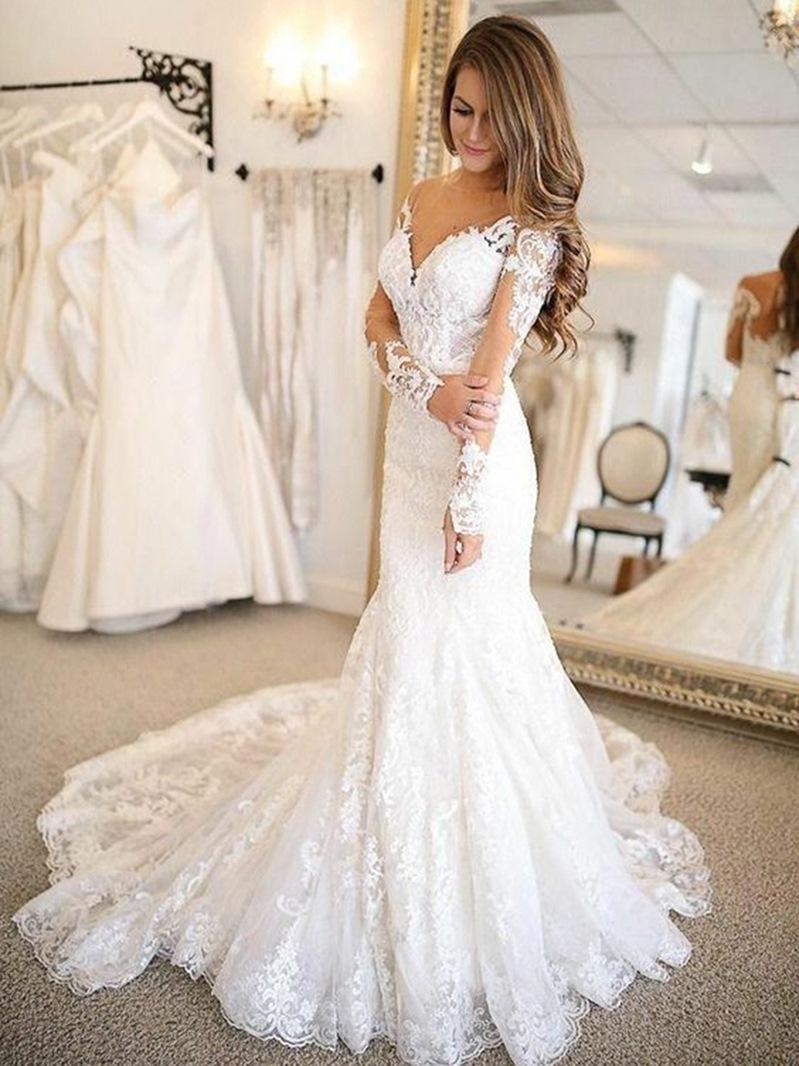 Ericdress Long Sleeves Appliques Outdoor Wedding Dress