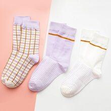3 pares calcetines con patron