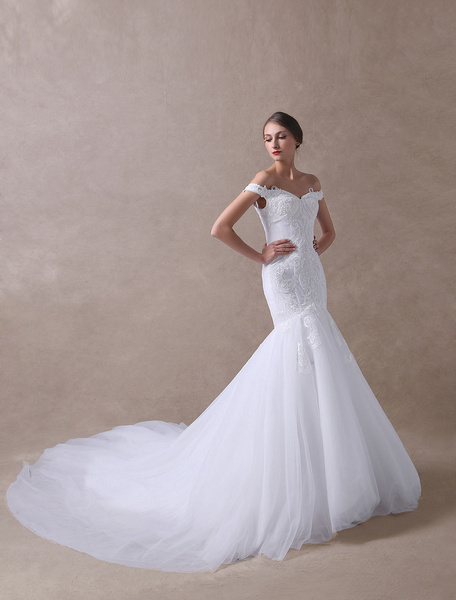 Milanoo Wedding Dresses Mermaid Off The Shoulder Bridal Dress Lace Applique Tulle Wedding Gowns With Train