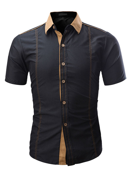 Milanoo Short Sleeve Shirt Suede Patch Slim Fit Men Casual Shirt