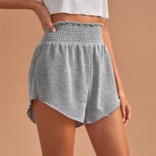Shirred Elastic Waist Lounge Shorts