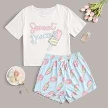 Letter & Ice Cream Print Tee & Shorts PJ Set