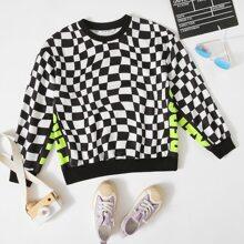 Neon Pullover mit Buchstaben Grafik und Karo Muster