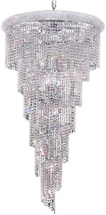V1801SR30C/SA 1801 Spiral Collection Chandelier D:30In H:54In Lt:22 Chrome Finish (Spectra   Swarovski