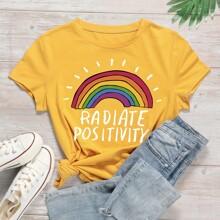 Camiseta de manga corta con estampado de letra