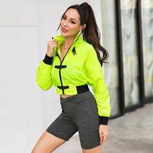 Neon Lime Buckle Detail Windbreaker Jacket
