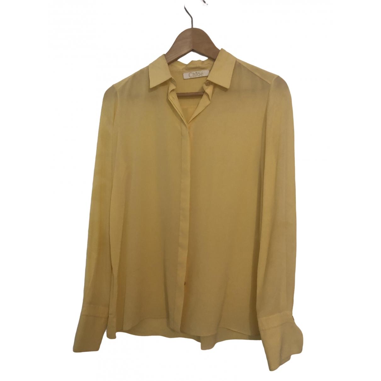 Chloe - Top   pour femme en soie - jaune